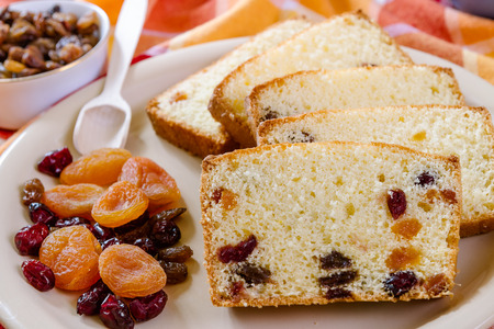 traditon: Detail of christmas cake with dried Fruit