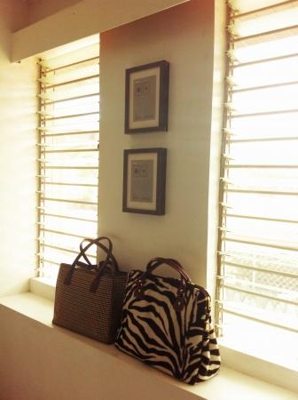print: bags beside the window