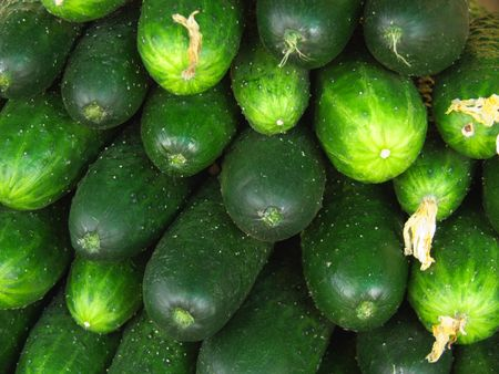 Background from green cucumbers on the market photo