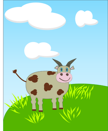 Cow under clouds Illustration