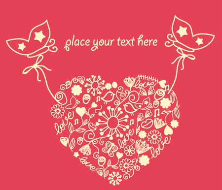 Lace heart with butterflies. Vector. Stock Vector - 5981960