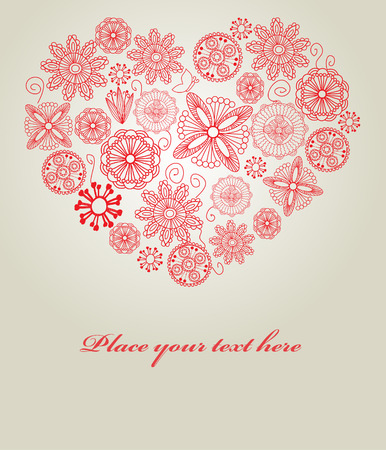 Valentines card with lace heart. Vector. Vector