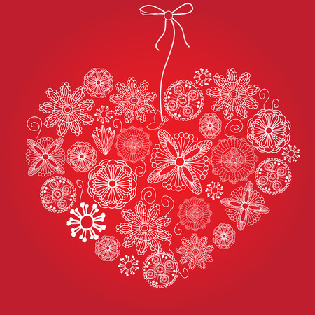 Valentines card with lace heart. Vector. Stock Vector - 5981961