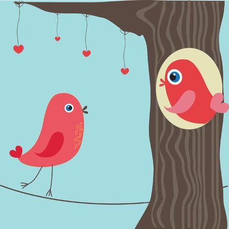 Pareja de aves en el amor. Vector.