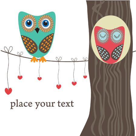 Par de búhos en el amor en el árbol. Vector