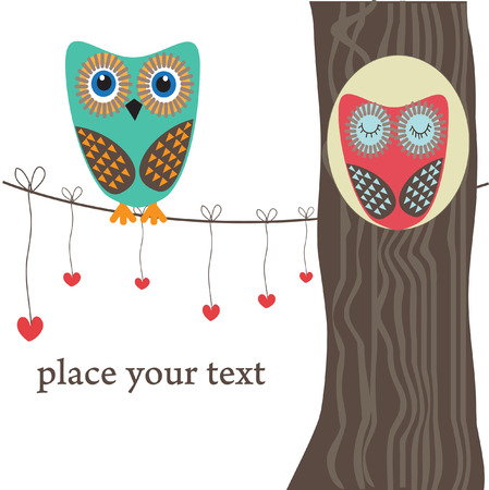 owls:  Owls couple in love on the tree. Vector Illustration