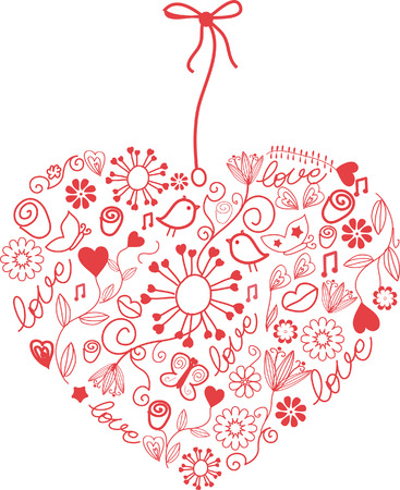 corazon en la mano: Coraz�n de dibujado a mano. Vectores