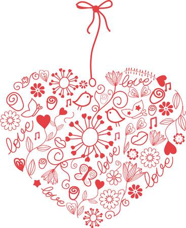 cuore in mano: Cuore disegnati a mano.  Vettoriali