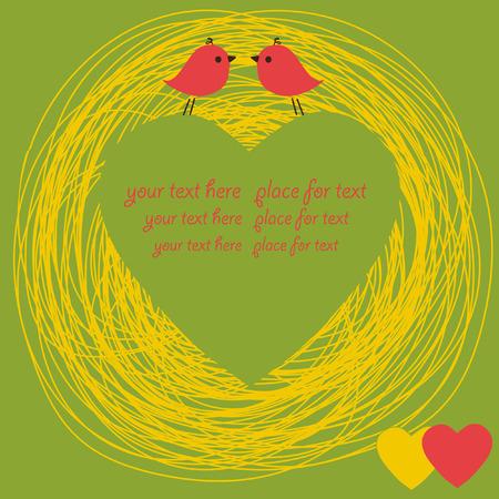 Hand drawn heart and birds. Vector. Vector