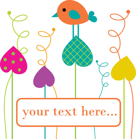Cute bird on heart tree. Stock Vector - 6037394