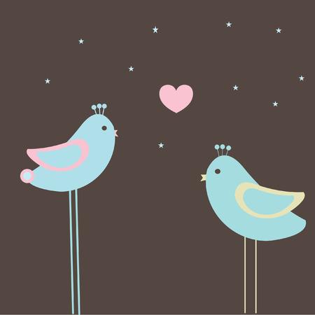 Birds couple on dark background. Vector