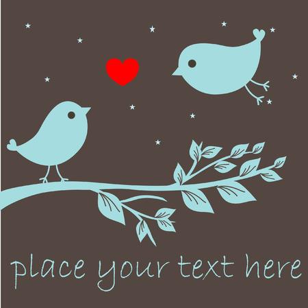 Valentine`s card with bird couple. Vector