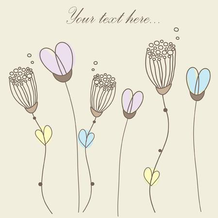 Retro floral card.  Illustration
