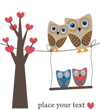 Owls family in love. Vector illustration Illustration