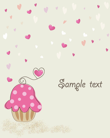 Valentine card with cupcake. Vector. Vector