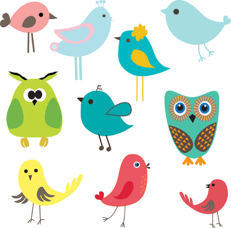 Set of different cute birds. Vector