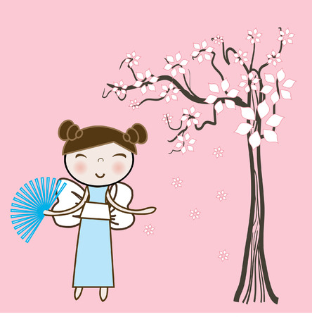Asian girl under spring floral tree. Vector