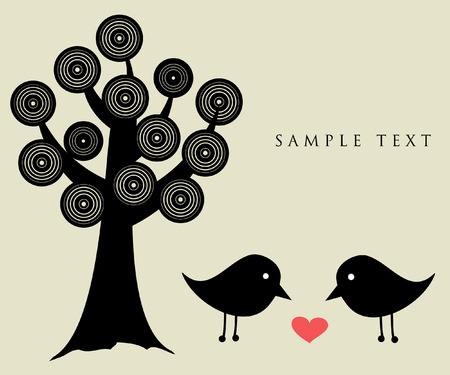 Black birds with heart. Vector