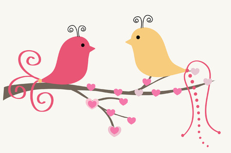 Abstract birds couple.Vintage vector illustration.