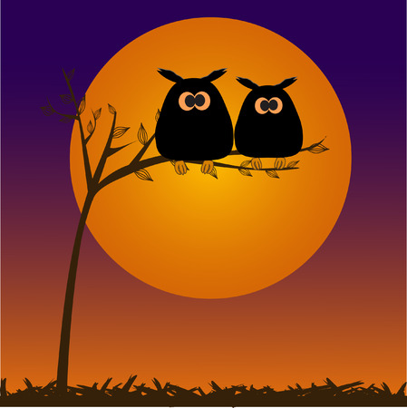 The full moon and owlы. Vector