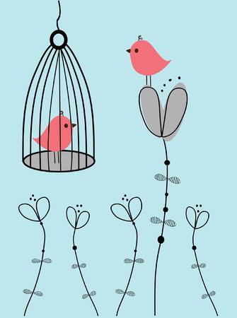 Vögel in der Liebe.