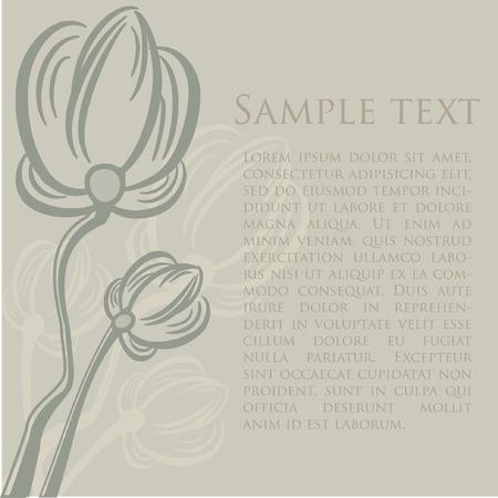 Floral retro card.  illustration. Vector