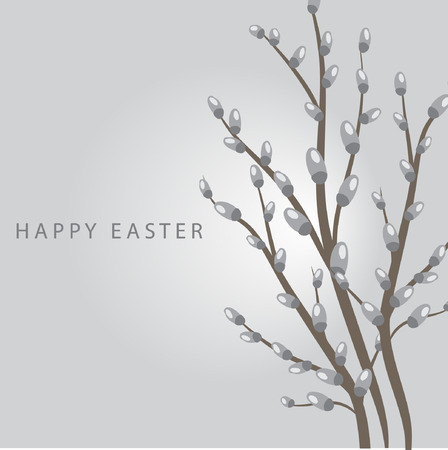 Spring willow. easter card Vector