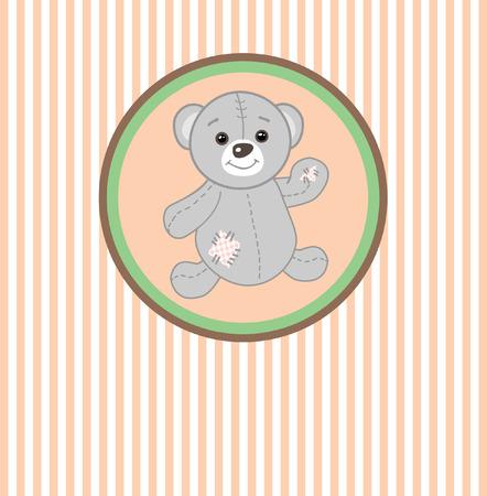 Cute grey teddy bear with patch.Vector greeting card Vector