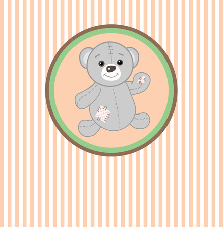stuffed animals: Cute grey teddy bear with patch.Vector greeting card