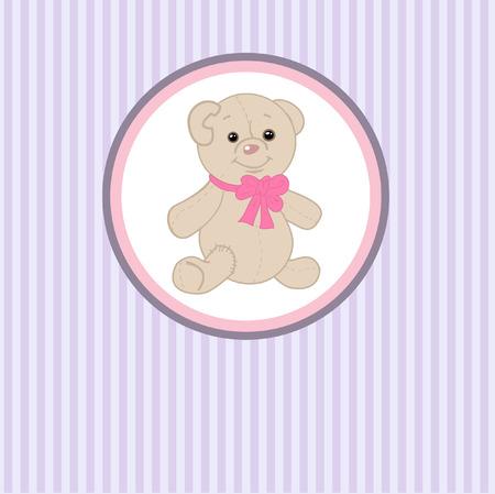 Cute teddy bear with patch. Vector greeting card Vector