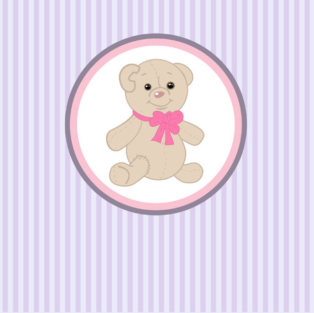 Cute teddy bear with patch. Vector greeting card Vector