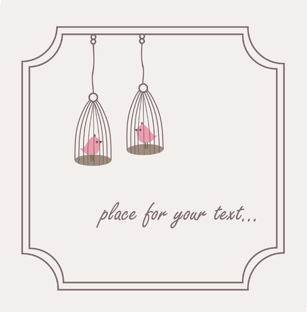 coop:  Birds couple in cages. Frame for your design.