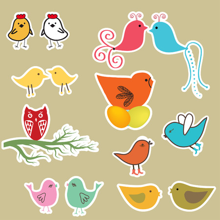 Set of cute birds Stock Vector - 7070275
