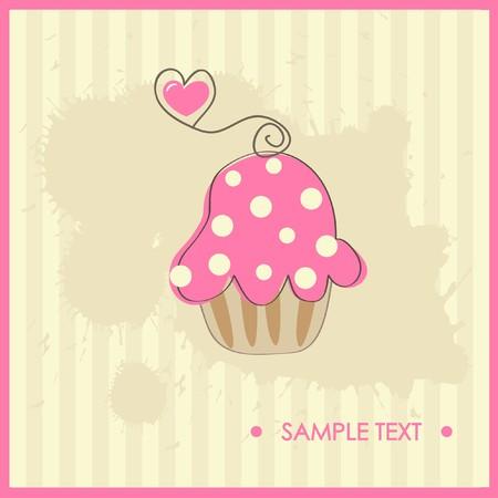 honey cake: Cupcake.  illustration  Illustration