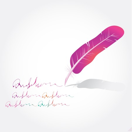 a literary sketch: Multicolored  feathers and text  Illustration
