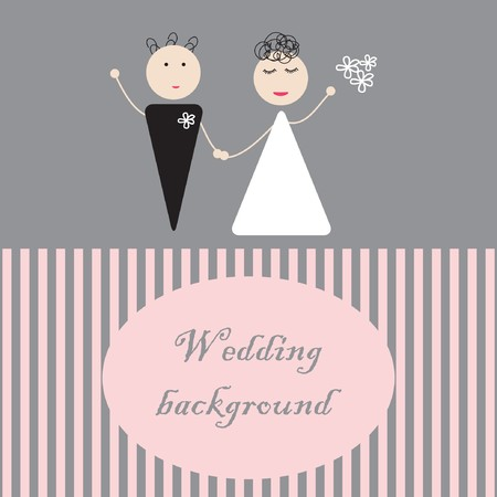 Bride and groom.  illustration  Vector