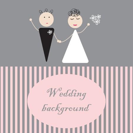 groom and bride: Bride and groom.  illustration