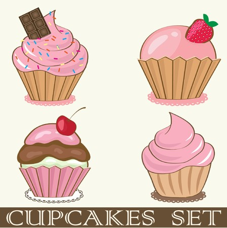 birthday cupcakes: Retro cupcakes set. Illustration