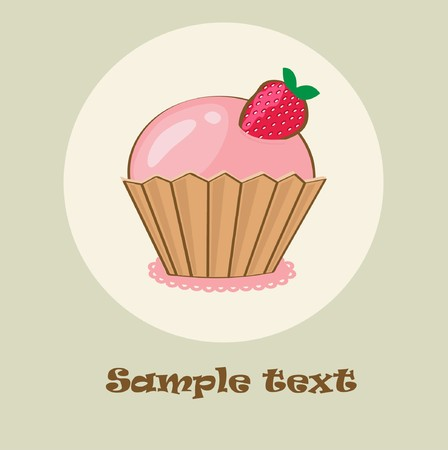 Birthday card with strawberry cupcake.  illustration  Ilustração
