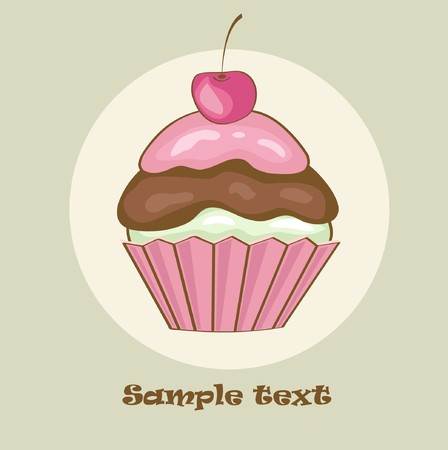 bake: Birthday card with cherry cupcake.  illustration