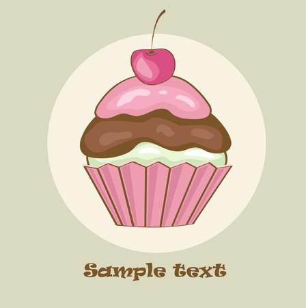 Birthday card with cherry cupcake.  illustration