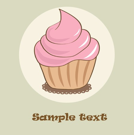 rnart: Birthday card with pink cupcake Illustration