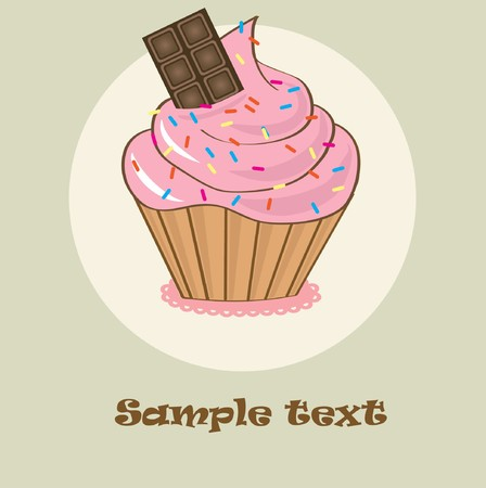 Birthdays card with cupcake Vector