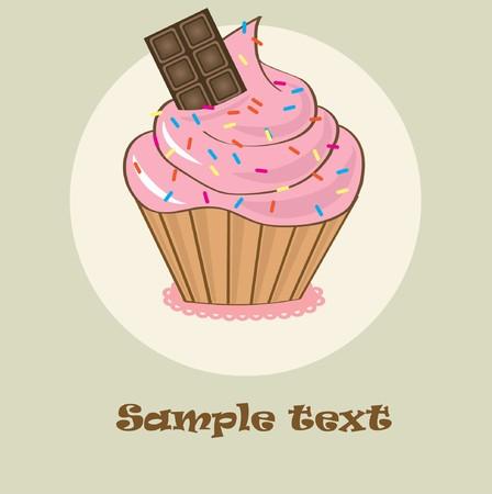 Birthdays card with cupcake Vector