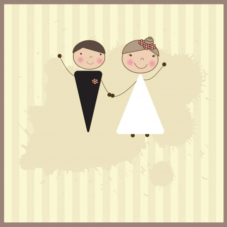 Wedding invitation with bride and groom. Vector