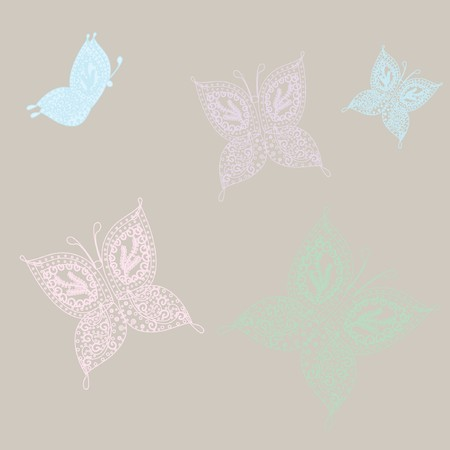 rnart: Set of vintage  butterflies.