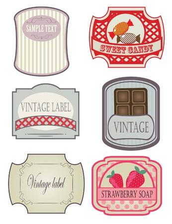 layout strawberry: Vintage labels set Illustration