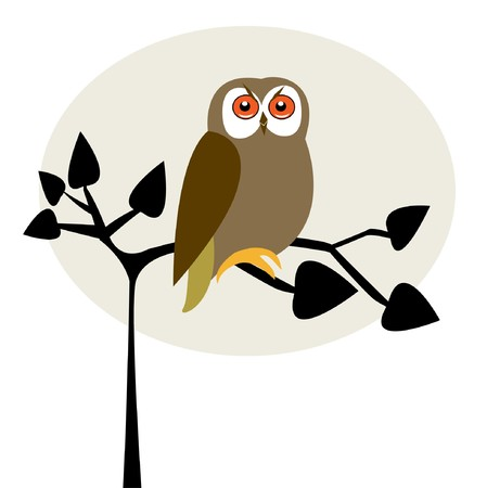 Cute owl on the tree Stock Vector - 7705454