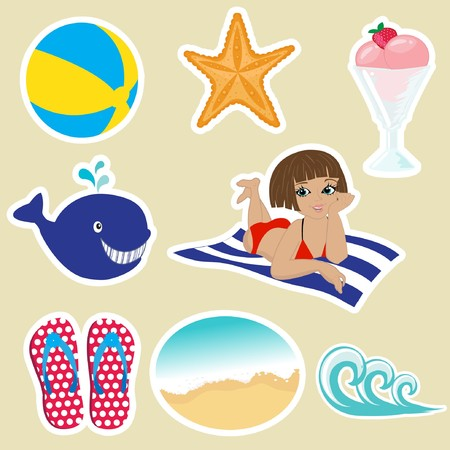 travel star: Vintage summer icons.   Illustration