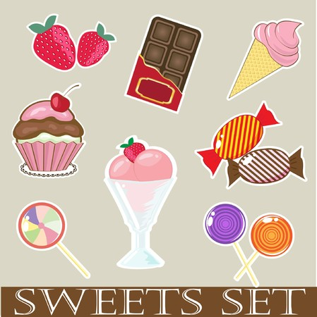 Sweets and cakes.   Vector